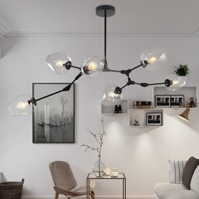 LOFT Industriel Lustres Globe En Verre Lumières Moderne Minimaliste Conception Lustre Suspendu dans le Salon/Restaurant E27 Lampes