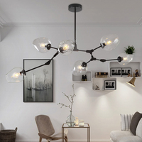 LOFT Industrial Chandeliers Globe Glass Lights Modern Minimalist Design Chandelier Hanging In Living Room Restaurant E27
