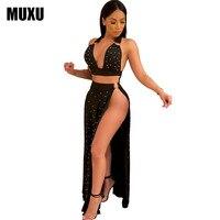 MUXU vestidos Elegant Womens dress Pearl Beading Black long plus size women clothing sukienka backless two piece set sexy jurken