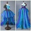 Princesa Meninas Pavão Pena Do Pavão Do Bebê Meninas vestido de Baile vestido de Festa Vestido Handwork Vestidos de Arrasto Para adereços Foto do Aniversário