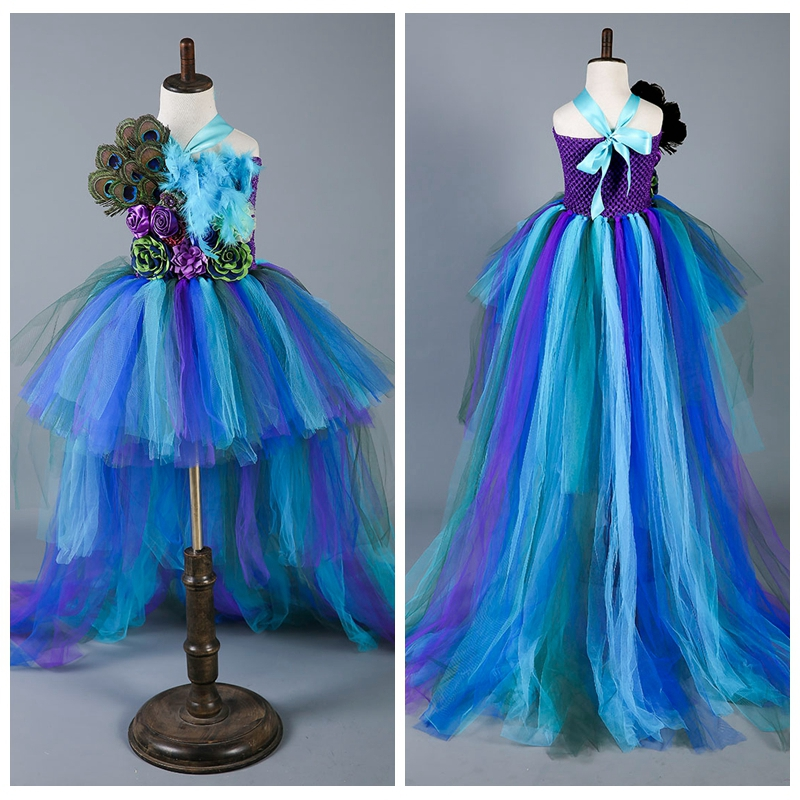 Princess Girls Peacock Party Dress Handwork Peacock Feather Baby Girls Ball Gown Trailing Dresses For Photo
