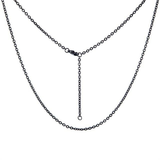 ¡Venta al por mayor! collar de cadena larga de acero inoxidable 316L, cadenas de collares de diseño único O, collar largo sin cuello para mujeres y hombres