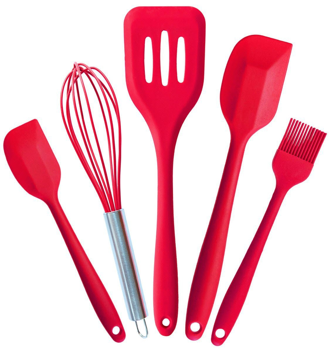 Silicone Kitchen Utensils Set 5 Piece in Hygienic Solid Coating Cherry Red