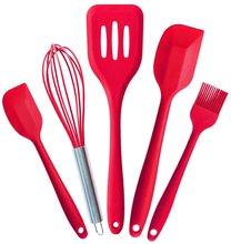 Silikonküchenutensilien Set (5 Stück) in Hygiene Feste Beschichtung (Cherry Red)