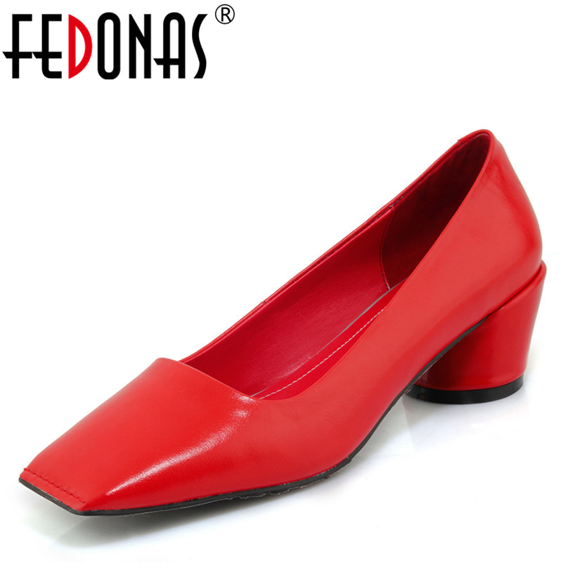 FEDONAS 2018 Women Thick High Heels Genuine Leather Pumps Elegant Spring Autumn Shoes Woman Square Toe Office Pumps wetkiss 2018 spring women shoes patent cow leather pumps woman zipper square toe thick high heels shoes female elegant footwear
