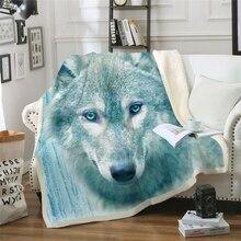 חדש 2019 חורף זאב מודפס קטיפה קטיפה לזרוק שמיכת כיסוי מיטה לילדים בנות ספה שרפה שמיכת ספה שמיכה DIY עיצוב