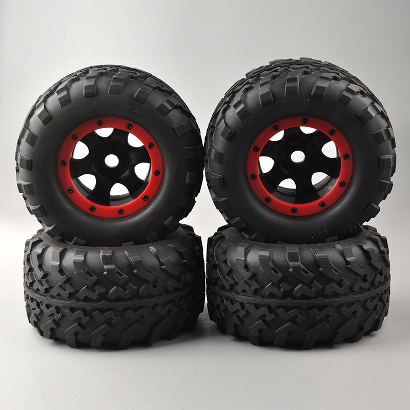 4 PCS Bigfoot Rubber Tires Red Wheel Rim For 1/8 Rc Truck Models 17mm Hex Parts and Accessories 26405 Six Holes 4pcs rc crawler truck 1 9 inch rubber tires