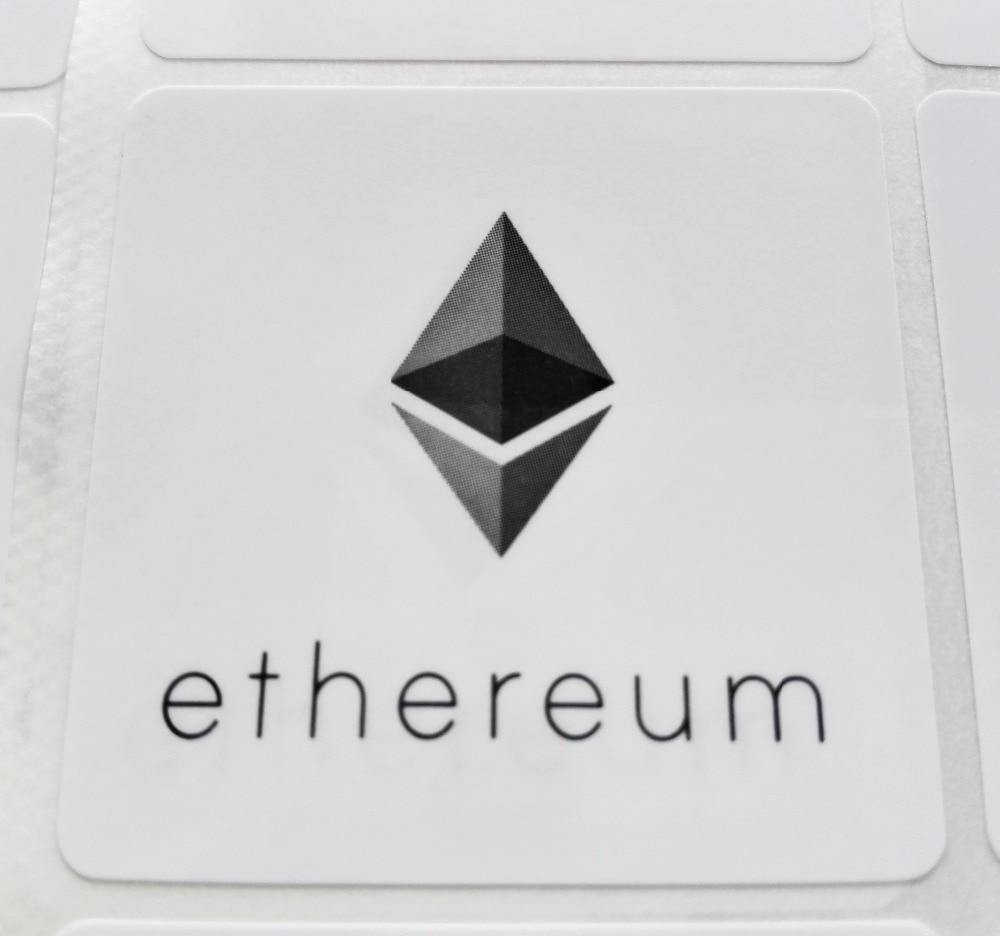 6pcs Ethereum Logo Stickers Self-adhesive Cryptocurrency Label 4x4cm