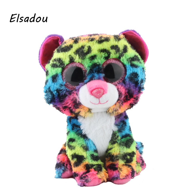 Elsadou Ty Beanie Boos Stuffed & Plush Animals Colorful Leopard Doll Toys For Girls ty collection beanie boos kids plush toys big eyes slick brown fox lovely children gifts kawaii stuffed animals dolls cute toys