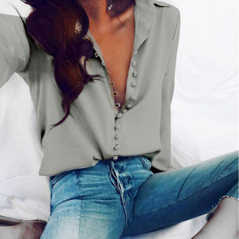 CROPKOP Fashion Casual Solid Color ladies office Tops Sexy Buttons Long sleeve Blouse 2019 new Spring Women Chiffon white Shirt 3