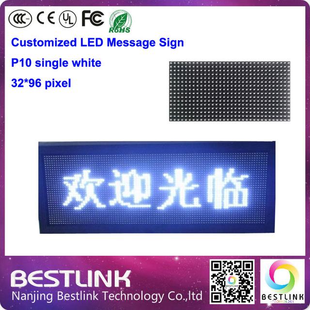 P10 único led branco sign 32 * 96 pixel placar eletrônico led sinal aberto interior levou programável mover a placa do sinal painel diy