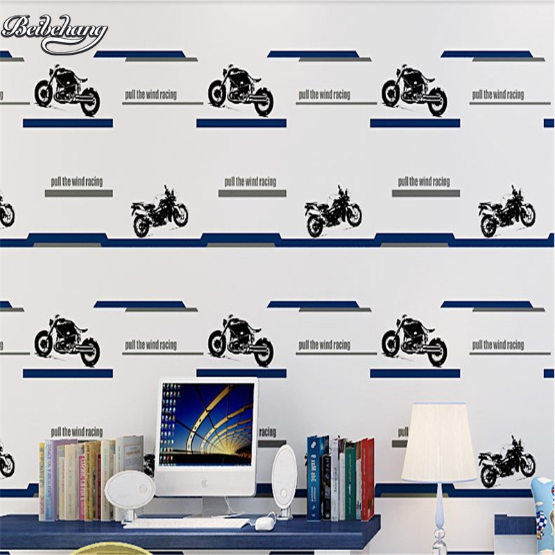 beibehang Children cute wallpaper cartoon motorcycle stripes boy children room wallpaper non - woven bedroom beibehang children room non woven wallpaper wallpaper blue stripes car environmental health boy girl study bedroom wallpaper