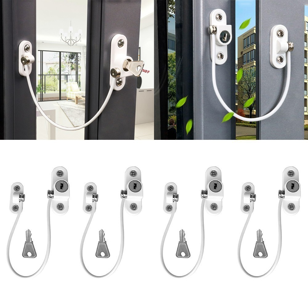 4PcsSet Baby Safety Locks Window Prevent Falling Security Door Window Locks Stainless Restrictor Cable Chain Key Locks