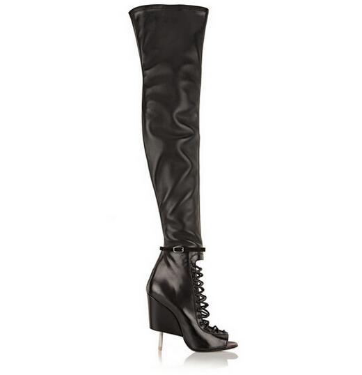 2017 New Arrivals Women Autumn Peep Toe Stiletto Heels Shoes Women Back Zipper Genuine Leather Thigh High Strange Style Boots
