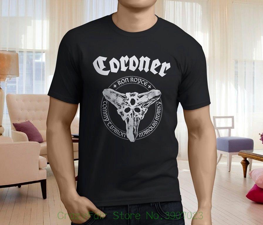 Новые популярные коронер группа Для мужчин; черная футболка Размеры S-3xl футболка с принтом Летний стиль ...