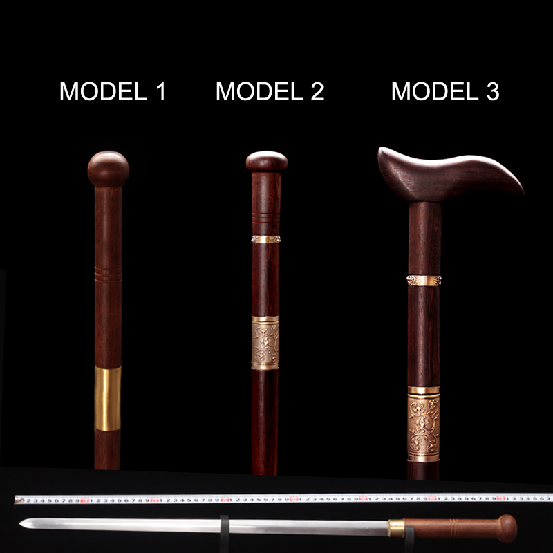 Crutches Sword Alpenstocks Sword Cane Cassia Siamea Wood Sheath  93cm Length Gift Wood Cane