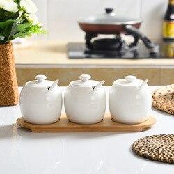 Ceramic Seasoning Box Salt Cans Japanese Spice Jar Sugar Bowl Kitchen Seasoning Bottle 3pcs/set Seasoning Cans Home Salt Tank