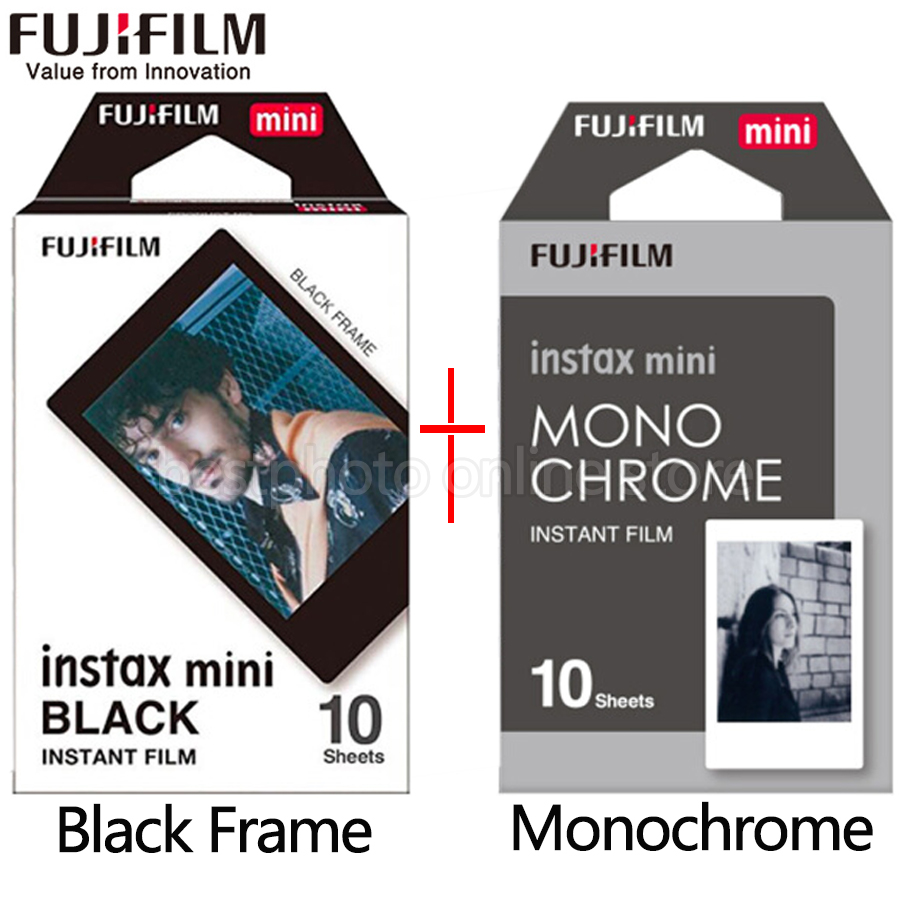 Fujifilm Fuji Instax Mini 9 Film black and white Monochrome Mono + Black Frame Film for Mini 8 70 8 Plus 90 25 Camera SP-1 SP-2