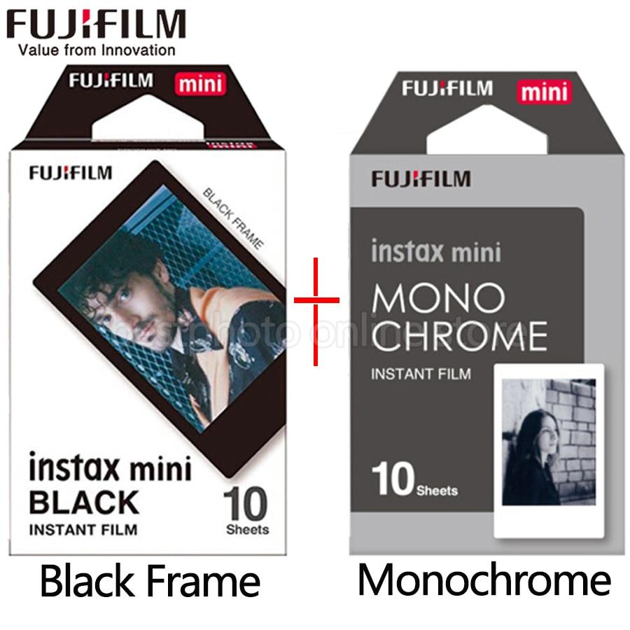 Fujifilm Fuji Instax Mini 9 Film noir et blanc Monochrome Mono + Noir cadre Film pour Mini 8 70 8 Plus 90 25 Caméra SP-1 SP-2