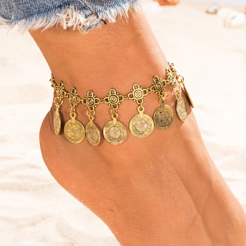 KISSWIFE Silver Color Bohemian Metal Tassel Anklet Luxury Charm Coin Ankle Bracelet For Women Jewelry Summer Style