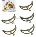 5PC Metal Frame Kiss Clasp Arch For Purse Bag Antique Bronze Mixed AB Color Resin Ball Flower Pattern 13cm x 7cm J2622