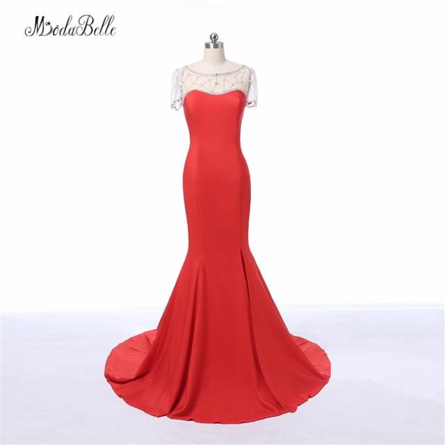 modabelle Sexy Mermaid Red Prom Dress Crystal Short Sleeve Elegant Split  Side Formal Evening Dress 2017 Vestido Festa Formatura 7ba282b97587