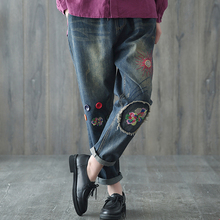 New Spring Autumn Fashion Vintage Floral Embroidered Pockets Jeans Elastic Waist Loose Denim Pants Female Trousers