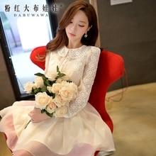 dabuwawa shirts women 2016 new spring autumn retro casual ladies lace shirt female blouse women pink doll wholesale