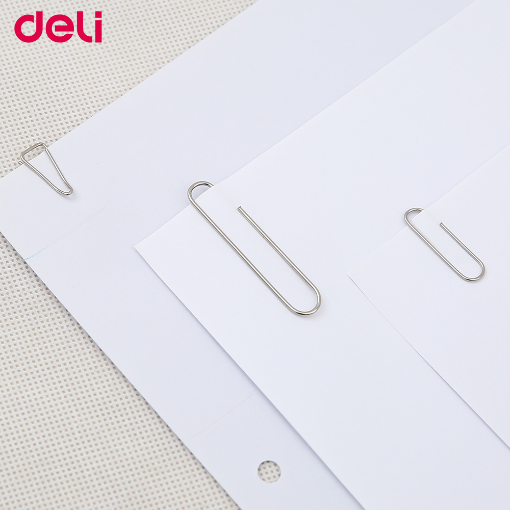 Deli Large 100pcs/set Metal Standard Paper Clip Good Quality Small/middle/big Size Triangle/metal/colorful Paper Clips