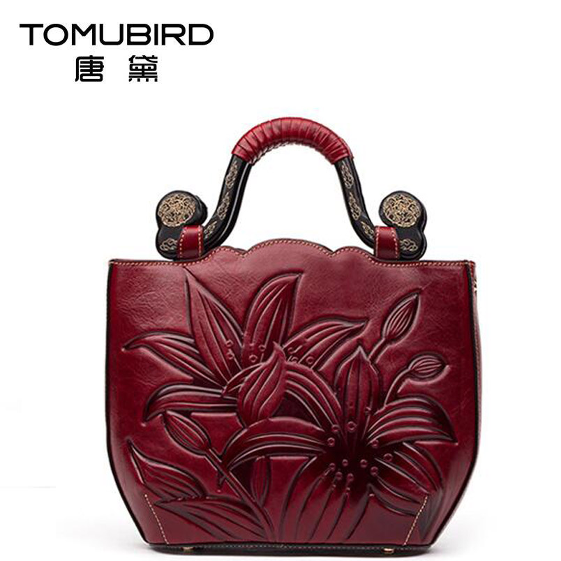 2017 New women bag genuine leather chinese brand high quality cowhide embossing retro fashion women handbags shoulder bag