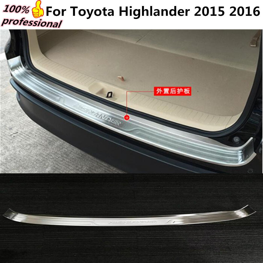Car body External Rear Bumper trim frame styling detector Stainless Steel plate pedal 1pcs for Toyota Highlander 2015 2016 for porsche cayenne 2015 stainless steel outer rear bumper foot plate trim 1pcs car styling