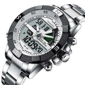 Image 2 - Moda Lüks Marka erkek saati Erkek Spor Izle LED kuvars saatler Paslanmaz Çelik Ordu Askeri Kol Saati Relogio Masculino