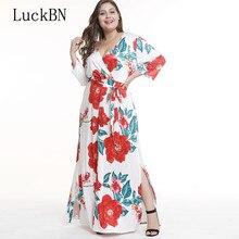 8640X new womens v-neck sexy split size fat MM printed dress summer