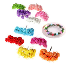 120Pcs Head Multicolor PE Rose Foam Mini Artificial Silk Flowers Bouquet Solid Color Wedding Decoration Wreaths 2cm Diameter