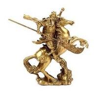 פליז נחושת מעודן אסיה אמנות סיניות עתיק הגיבור הסיני גואן גונג גואן יו לרכב על סוסים פסל
