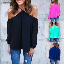 Off The Shoulder Split Blouses Spring Summer Style New Sexy Tops Women Fashion Casual Shirts 2016 Ladies Long Sleeve Blouse