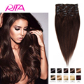 Cilp In Brazilian Straight Hair Darkest Brown #2 7-10pieces 1set Soft Hair Can Be Full With Head aplique tic tac cabelo humano