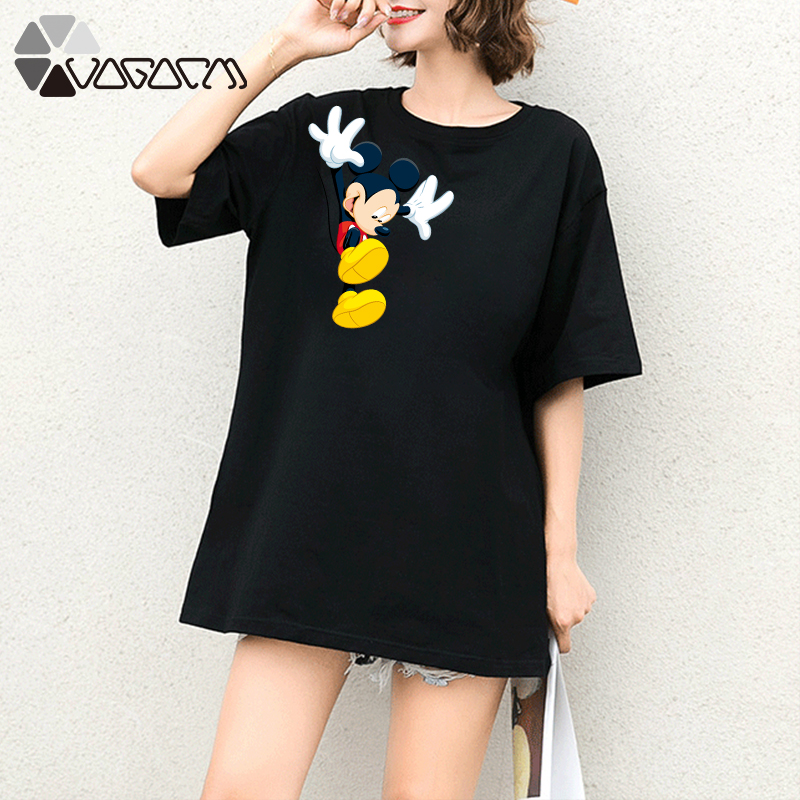 2019 Summer Clothes Women Minnie Mickey Mouse Tops Short Sleeve White Loose Cartoon Plus Size T Shirts Casual Fashion Tee in T Shirts from Women 39 s Clothing