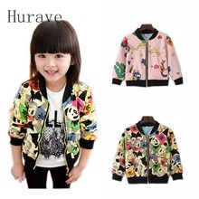 Hurave girls coat girls jackets & coats star print children clothes kids outerwear toddlers clothing 2017 spring autumn outfit