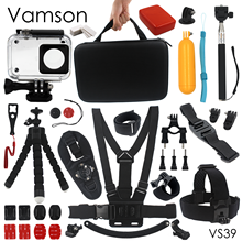 Vamson for Xiaomi for Yi Accessories Waterproof housing Case Sponge Octopus Tripod Big Box For yi 2 4K Action Camera VS39
