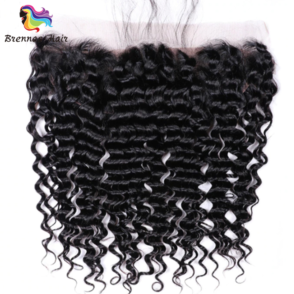 100% Brazilian Deep Wave 13*4 Lace frontal closure Human Remy Hair lace frontal Natural Color swiss lace 1pc/pack 8 20inch