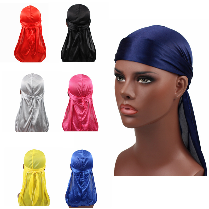 Unisex Women Men Silk Durag Turban Hat Wigs Biker Headwear Headband Hair Accessories Long Tail Straps Bandanas Silky Durags