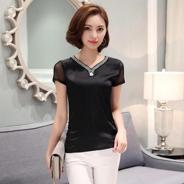 Womens T Shirts 2017 Summer Fashion Slim OL Short Sleeve Tops Tees V-neck Beaded Solid Plus Size Tshirt Female Hot Sale M-3XL
