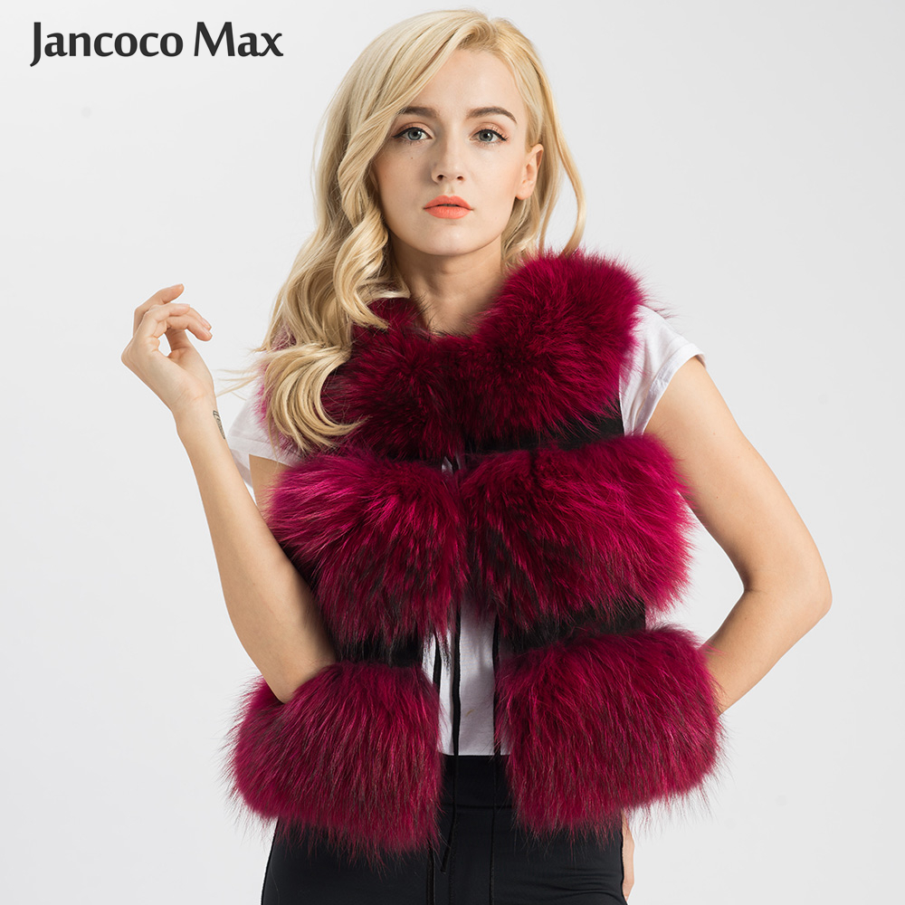 Jancoco Max 2019 ქალთა ნამდვილი ბეწვის ვესტი Genuine Raccoon Fur Gilet Waistcoat Lady Winter Fashion 3 Rows Vest High Quality S1150SJ