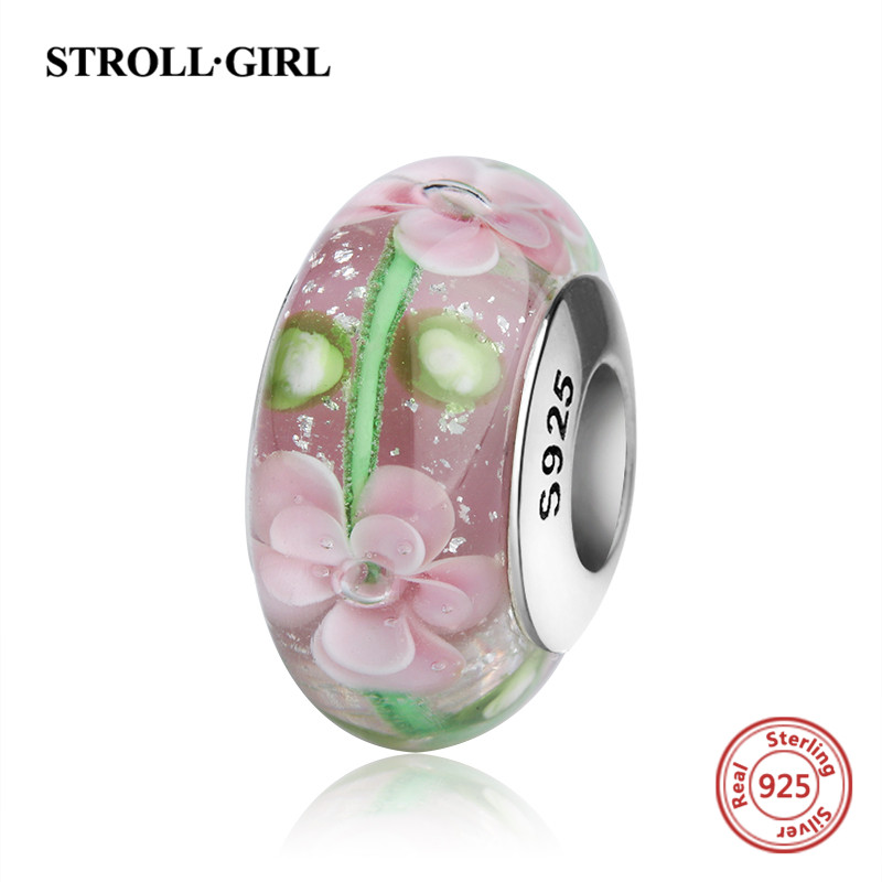 StrollGirl flower charms 925 sterling silver Murano glass beads fit authentic pandora charm bracelet jewelry making women gifts