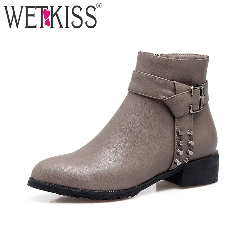 WETKISS 2018 Big Size 33-46 Woman Ankle Boot Rivet Motorcycle Chunky Heels Autumn Winter Boot Lady Shoes Female FootwearWETKISS 2018 Big Size 33-46 Woman Ankle Boot Rivet Motorcycle Chunky Heels Autumn Winter Boot Lady Shoes Female Footwear