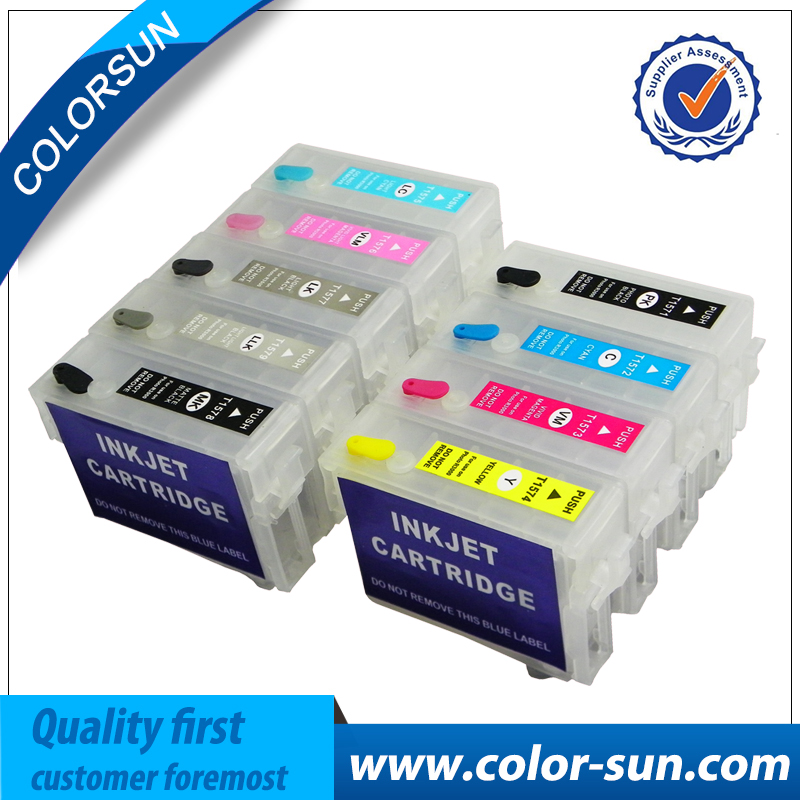 Free shipping 9 COLORS T157 Refillable Ink cartridges For Epson Stylus Photo R3000 printer with Auto Reset Chips T1571 T1579
