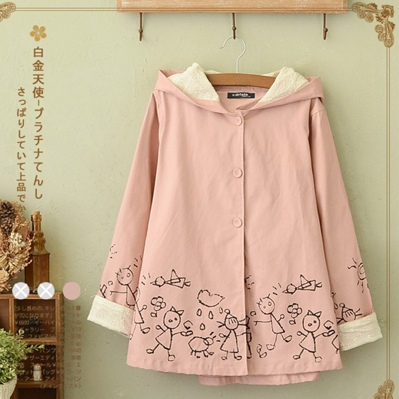 Harajuku Autumn Casual Sweet   Jacket   Women's Loose Cotton Cartoon Printed Single Breasted Female Hooded   Basic     Jackets   Coats U147