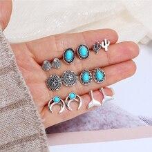 Bohopan 7Pairs/Set Hot Sales Earrings For Women Fashion Retro Rhinestone Stud Bohemia Shell Beach Vacation Set