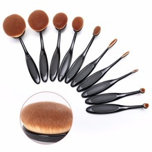 10 Pcs Oval Makeup Brush Fashionable Super Soft Brushes Contour Powder Blush Brush Cosmetic Tool Set High Quality Makeup Brushes